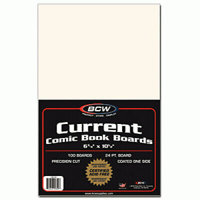 (1000) Bcw Comic Book Current Age Acid Free White Cardboard Backing Boards