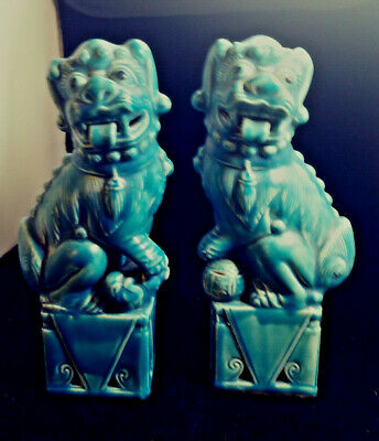"""Vintage Blue Foo Dogs Chinese Ceramic Export Temple Guardian Lions Shi 9"""" PAIR"""