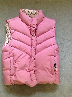 GAP Kids Girls fur Puffer Vest Padded Gilet double sided size 10 years L
