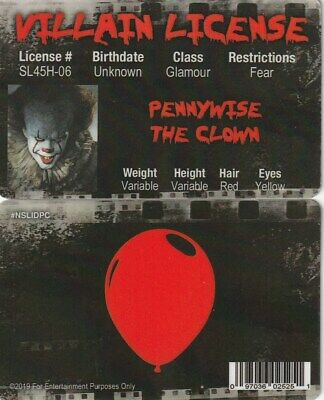 Psycho Clown PENNYWISE of IT  Slasher fake ID i.d card driver's Drivers License