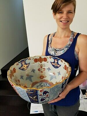 "Very large beautiful pristine Japanese Imari punch bowl 16"" dia good condition"