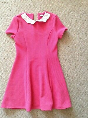 M&S Girl's Dress - Age 10-11years pink Dress with white coral
