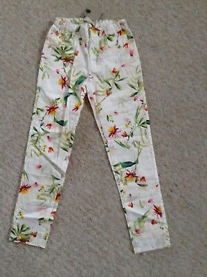 Zara Girls Floral Trousers Age 9-10 y adjustablewaist summer holiday new