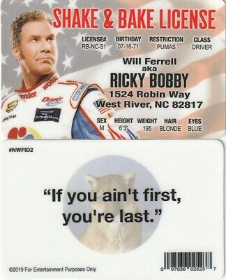 Ricky Bobby WILL FERRELL Shake and BAke ID Card driver's Drivers License NASCAR