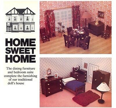 Dolls' House Dining Room & Bedroom Furniture DIAGRAM Plans & Instructions (ONLY)
