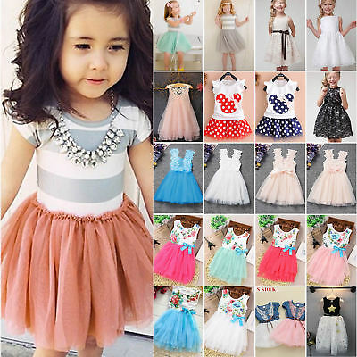 Kids Baby Flower Girls Lace Tulle Tutu Dress Party Summer Casual Formal Dresses