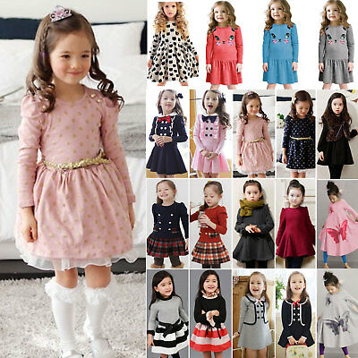 Kids Girls Long Sleeve Mini Dress Princess Dresses Formal Casual Party Outfits