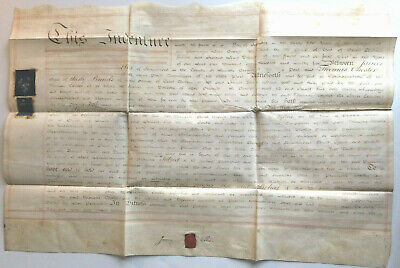 Vellum 1795 Indenture Red Seal Signatures Tax Stamp. Red Lined. Very Nice Script
