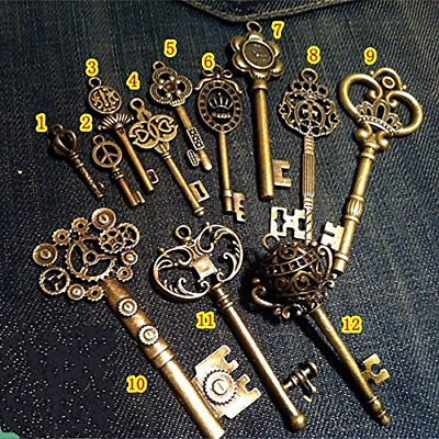 Set of 12 Large Skeleton Keys Antique Bronze Collectibles Vintage Wedding Decor