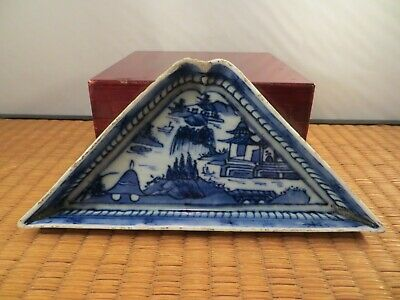 Antique Chinese Blue & White Porcelain Sweet Meats Dish Bowl Blue Willow China A