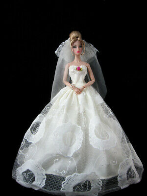 Barbie Doll Floral Embroidered Tulle Wedding Gown Dress with Veil