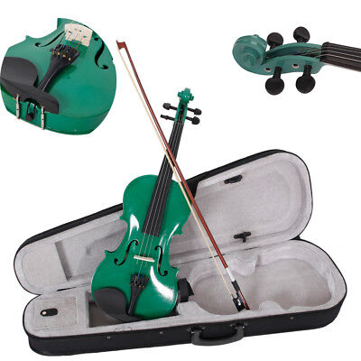 4/4 Full Size Green Acoustic Students Violin Set w/ Case Bow Rosin Bridge