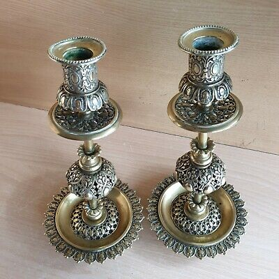 35# Old Rare Antique Islamic Ottoman Persian Carved Pair Candlesticks
