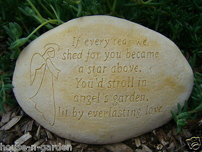 ANGEL MEMORIAL INSPIRATIONAL STONE ROCK Concrete Garden Ornament Statue