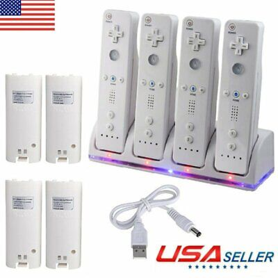 4x Rechargeable Handle Batteries Pack Charger Controller w/ Cable for WII Remote