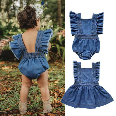 Denim Toddler Kids Baby Girl Sister Matching Ruffle Jumpsuit Romper Dress Outfit