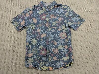 fab0495630 VANS HAWAIIAN BUTTON Up Shirt Mens Medium Tropical Floral Black Teal ...