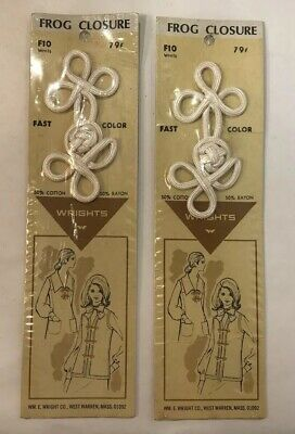 Vintage Wrights White Decorative Frog Closure Fastener 2 Unopened Packages NIB
