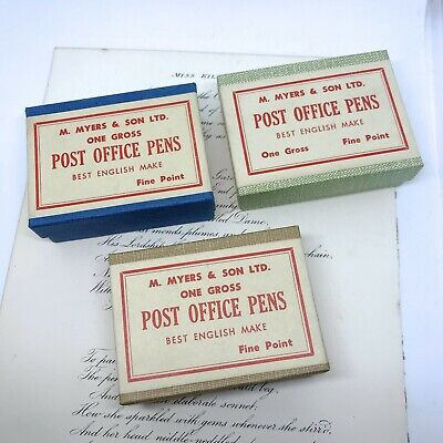 Three (3) Boxes Post Office Ink Pen Nibs Unopened Vintage Myers & Son Caligraphy