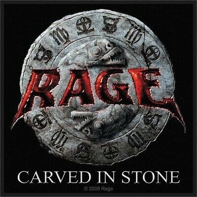Rage Sew On Patch Carved In Stone Logo