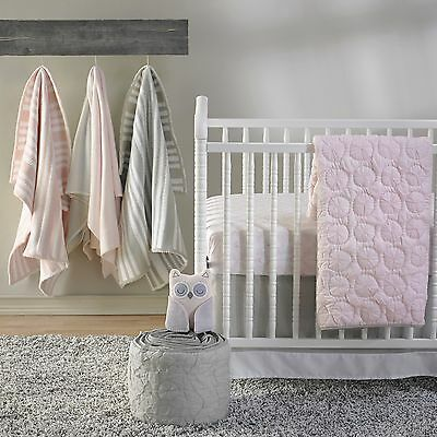 Girls Pink Quilted Cot Quilt Coverlet Cocalo Baby Crib Nursery Bedding
