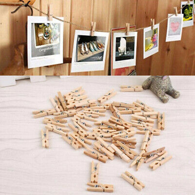 500Pcs Mini Wooden Pegs Tiny Craft Wedding Hanging Photo Spring Clips 25-35mm