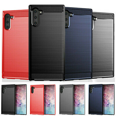For Samsung Galaxy Note 10 Plus Slim Hybrid Carbon Fiber Matte TPU Case Cover