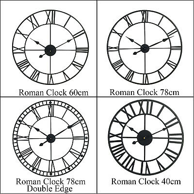 Roman Numeral Wall Clock Large Skeleton Home Garden Round Metal Open Face Clocks