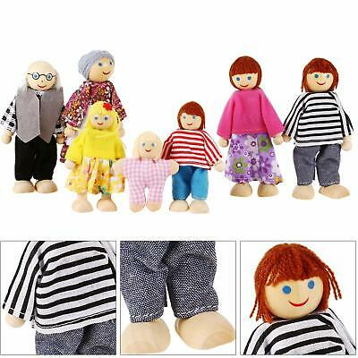 Wooden Furniture Doll House Family Miniature 7 People Dolls Kids Play Toys Gifts