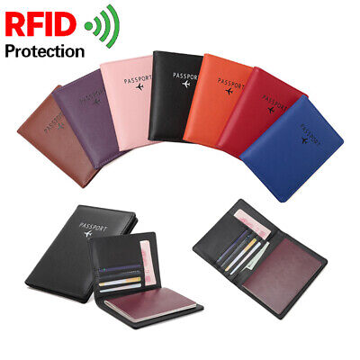 Slim Leather Travel Passport Wallet Holder RFID Blocking ID Card Cash Case Cover