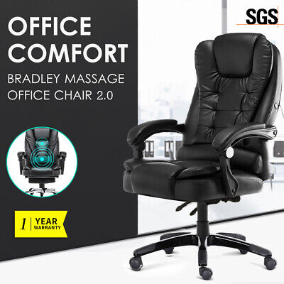 Executive Massage Office Chair Premium PU Leather Recliner Computer Gaming Seat
