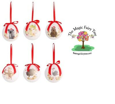 6 Australian Animals Christmas Baubles tree decoration Aussie animal wombat emu