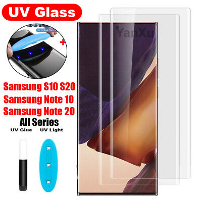 For Samsung Galaxy Note10+ S10+ Liquid Screen Protector UV Glue Tempered Glass !