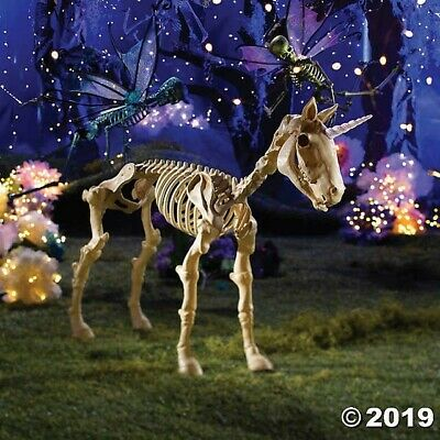 "Halloween Props Decorations Scary 43""x 27"" Unicorn Skeleton, Outdoor, Yard"