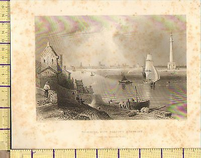 c1840 ANTIQUE VICTORIAN PRINT ~ YARMOUTH ~ NELSON'S MONUMENT