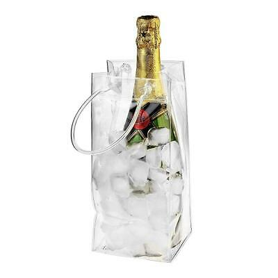 PVC Ice Bag Carrier Bottle Wine Cooler Chiller Travel Party Ice Bucket Transpare