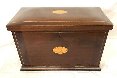 Antique EDWARDIAN Inlaid Mahogany Stationary Box / Writing Box / Writing Slope