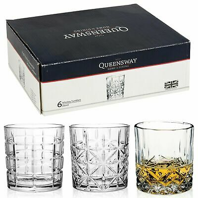 6pc Queensway Cut Whiskey Tumblers Glasses Gift Boxed Set Wedding Xmas 3 Designs