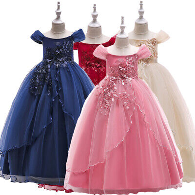 Princess Girls Flower Pageant Tutu Dress Communion Party Prom Wedding Bridesmaid