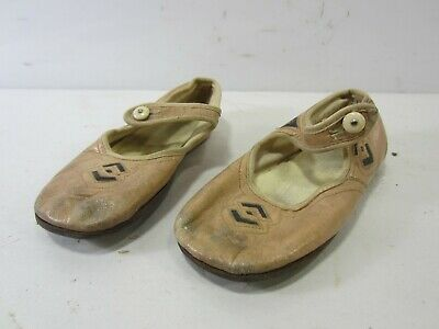 Antique Little Girls Side Button Leather Mary Jane Shoes