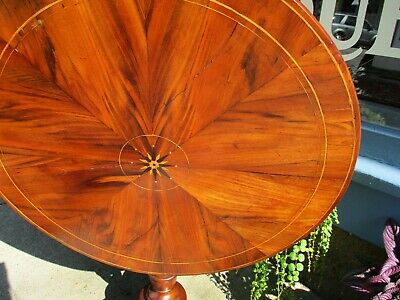 Antique English Rosewood Tilt Top Table With Inlay and Marquetry