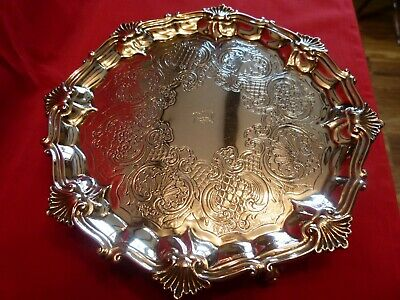 Beautiful & Weighty Georgian 1827 Solid Silver Salver / Tray,By William Ker Reid