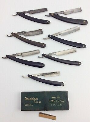 7 Antique Straight razors Wade & Butcher G. Wostenholm Joseph Elliot  Johnson