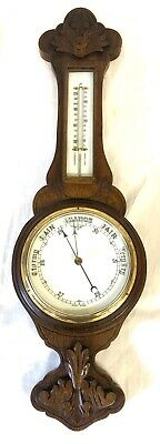Antique Carved Oak Aneroid Banjo Barometer & Thermometer : Milk Glass Dial (c53)
