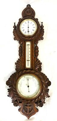 Antique Carved Oak Aneroid Banjo Barometer Thermometer & Clock with Anchor c52