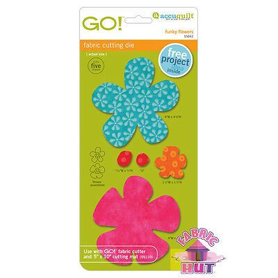Accuquilt GO! Fabric Cutter Die Funky Flowers Quilt Sew 55042