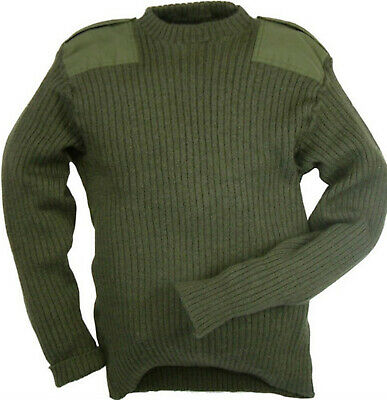 Green Commando Jumper Pullover British Army Surplus Issue Military Cadet Wool