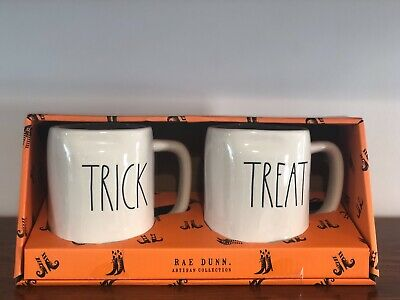 Rae Dunn Halloween Collection By Magenta LL TRICK, TREAT Coffee Mug, Set of 2