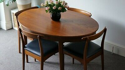 Mid Century Oval Teak Dining Table and 4 Chairs By Greaves & Thomas