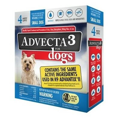 Advecta 3 For Small dog 5 - 10 lbs - Flea & Tick Topical Treatment - 4 Count